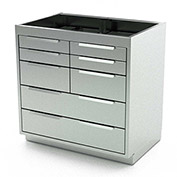 "Aero Stainless Steel Base Medical Cabinet BC-3700 - 8 Drawers, 30""W x 21""D x 36""H"