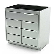 """Aero Stainless Steel Base Medical Cabinet BC-3901 - 7 Drawers, 36""""W x 21""""D x 36""""H"""