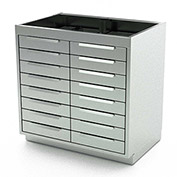 "Aero Stainless Steel Base Medical Cabinet BC-4200 - 16 Drawers, 30""W x 21""D x 36""H"