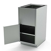 Aero Stainless Steel Base Medical Cabinet BC-4300 - 1 Hinged Door, Shelf, Sink Bowl, 18x21x36