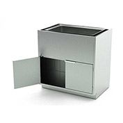 Aero Stainless Steel Base Medical Cabinet BC-4400 - 2 Hinged Doors 1 Shelf, Sink Bowl, 30x21x36