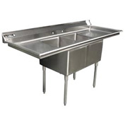 "Two Bowl Economy SS NSF Sink with two 18""W Drainboards - 16""Wx21""D"
