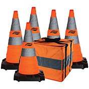 "Aervoe 28"" HD Collapsible Safety Cone With LED Light, Weighted Base, 5/Pack, 1186-5"