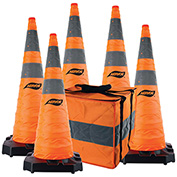 "Aervoe 36"" HD Collapsible Safety Cone With LED Light, Weighted Base, 5/Pack, 1187-5"
