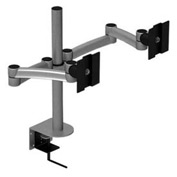 Desktop Monitor Mounts w/ 2 Z-Arms & Clamps - Gray