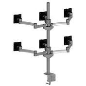 Desktop Monitor Mounts w/ 6 Z-Arms & Clamps - Gray