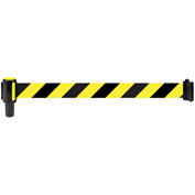 Banner Stakes Standard Banner Head, 12' Banner, Yellow/Black Diagonal Stripe