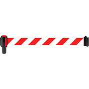 Banner Stakes Standard Banner Head, 12' Banner, Red/White Diagonal Stripe