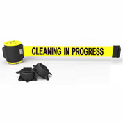 Banner Stakes MH5004- PLUS 30' Wall Mount Barrier, Yellow Banner-Cleaning in Progress