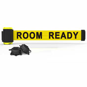Banner Stakes MH7011- PLUS 7' Wall Mount Barrier, Yellow Banner-Room Ready