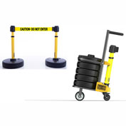 Banner Stakes PL4078- PLUS Cart Package, 15'  Yellow Banner -Caution /Do Not Enter
