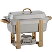 "Alegacy AL320GA - The Original Six In One Stainless Steel Chafer with Gold Trim 1/3""x 2"""