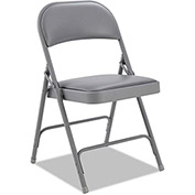 Alera Steel Folding Chair With Padded Back and Seat - Light Gray - 4 Pack