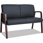 "Alera Reception Loveseat - Leather - 44-7/8"" x 26"" x 33-1/4"" - Black/Mahogany - WL Series"