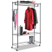 Alera® Garment Rack, Black Steel w/ Casters, 3-Shelf
