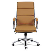 Alera® Neratoli High-Back Slim Profile Chair - Camel Soft Leather - Chrome Frame