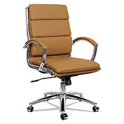 Alera® Neratoli Mid-Back Slim Profile Chair - Camel Soft Leather - Chrome Frame