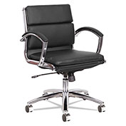 Alera® Neratoli Low-Back Slim Profile Chair - Black Soft Leather - Chrome Frame
