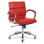 Alera® Neratoli Low-Back Slim Profile Chair - Red Soft Leather - Chrome Frame