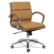 Alera® Neratoli Low-Back Slim Profile Chair - Camel Soft Leather - Chrome Frame