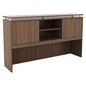 "Alera® Hutch with Sliding Doors - 66""W x 15""D x 42-1/2""H - Modern Walnut - Sedina Series"