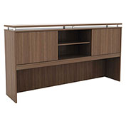 "Alera® Hutch with Sliding Doors - 72""W x 15""D x 42-1/2""H - Modern Walnut - Sedina Series"