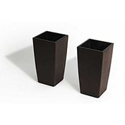 2 Pack Mini Modena, Self Watering Planters, Matte Mocha