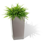 Self Watering Square Modena Planter, Matte Granite, 16""