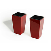 2 Pack Mini Modena, Self Watering Planters, Gloss Red