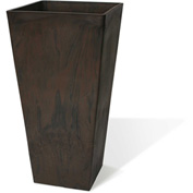 "Valencia Square Planter, 13.75"" X 23.5""H, Brown Marble"