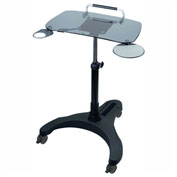 Aidata Sit/Stand Mobile Laptop Workstation, Glass