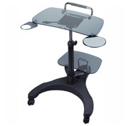 Aidata Sit/Stand Mobile Laptop Workstation w/ Shelf, Glass