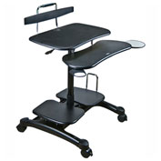 Aidata PCC004P Sit/Stand Mobile PC Workstation, Black