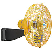 "Airmaster Fan 20"" Wall Mount Yellow Safety Fan - 2 Speed Drop Cord Switch 12205K 1/3 HP 3637 CFM"