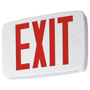 Lithonia LQM S W 3 R 120/277 EL N SD M6 White Thermoplastic LED Exit with Red Letters