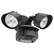 Lithonia Lighting OFLR 6LC 120 MO BZ M2, LED Flood Light, Motion Sensor, 2-Head, 1222 Lumens, Bronze