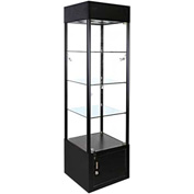 """Lighted Glass Tower Showcase - Fully Assembled - 20""""W x 12""""Dx 73""""H - Black"""