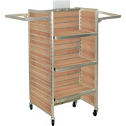 "Slat Wall Merchandiser, Three Panel-H, 25""W x 25""D x 54""H, with Castors - Maple"