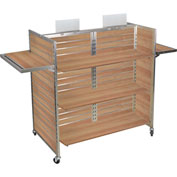 "Slat Wall Merchandiser, Three Panel-Gondola, 50""W x 25""D x 54""H, with Castors - Maple"