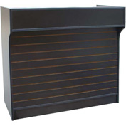"Top Register Stand W/Slat Wall Front & Adj. Rear Storage 72""W x 22""D x 42""H Maple"