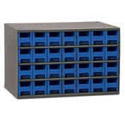 "Akro-Mils Steel Small Parts Storage Cabinet 19228 - 17""W x 11""D x 11""H w/ 28 Blue Drawers"