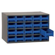 "Akro-Mils Steel Small Parts Storage Cabinet 19320 - 17""W x 11""D x 11""H w/ 20 Blue Drawers"