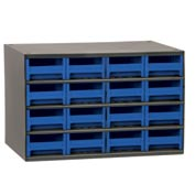 "Akro-Mils Steel Small Parts Storage Cabinet 19416 - 17""W x 11""D x 11""H w/ 16 Blue Drawers"