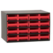 "Akro-Mils Steel Small Parts Storage Cabinet 19416 - 17""W x 11""D x 11""H w/ 16 Red Drawers"