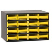"Akro-Mils Steel Small Parts Storage Cabinet 19416 - 17""W x 11""D x 11""H w/ 16 Yellow Drawers"