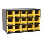 "Akro-Mils Steel Small Parts Storage Cabinet 19715 - 17""W x 11""D x 11""H w/ 15 Yellow Drawers"