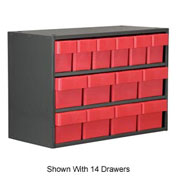 Akro-Mils Super Modular Cabinet AD1811C82RED Grey w/ 6 Red Akrodrawers 18 x 11 x 16-1/2