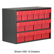 Akro-Mils Super Modular Cabinet AD1811CASTRED Grey w/ 8 Red Akrodrawers 18 x 11 x 16-1/2