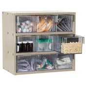 Akro-Mils Super Modular Cabinet AD1811P62CRY Putty w/ 9 Clear Akrodrawers 18 x 11 x 16-1/2