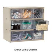 Akro-Mils Super Modular Cabinet AD1811P82CRY Putty w/ 6 Clear Akrodrawers 18 x 11 x 16-1/2